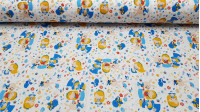 Cotton Alice Flowers Fantasy fabric - Calico cotton fabric with children's drawings representing the characters of the fairy tale Alice in Wonderland on a very colorful background with flowers, letters, keys... on a white background. The fabric is 150cm