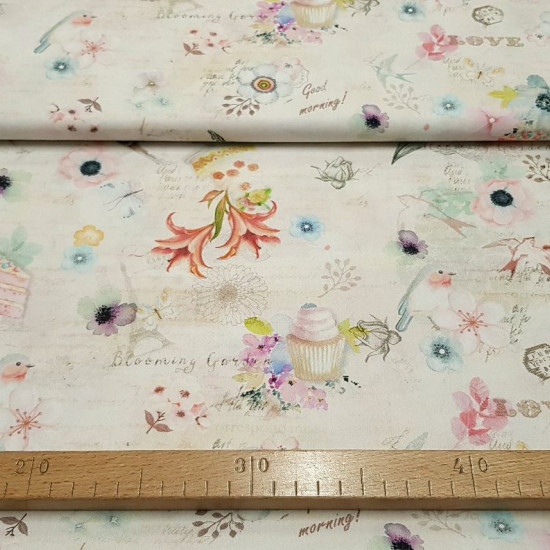 Cotton Garden Breakfast fabric - Cotton poplin fabric with colorful drawings of birds, cakes, cupcakes, flowers, butterflies ... on a rustic background in light tones. The fabric is 140cm wide and its composition is 100% cotton.