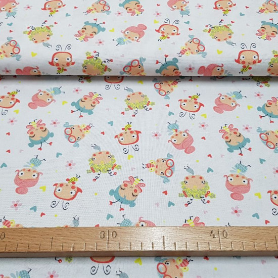 Cotton Bees and Butterflies fabric - Children's cotton fabric with very funny cartoon drawings of bees and butterflies on a white background with colorful hearts and flowers The fabric is 150cm wide and its composition is 100% cotton.