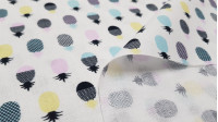 Cotton Tropical Pineapples fabric - Beautiful cotton fabric with drawings of pineapples in various colors with black pints on a light background. This fabric combines with everything you propose! The fabric is 150cm wide and its composition 100% cotton