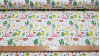Cotton Flamingos Party fabric - Digital print cotton fabric with drawings of flamingos, watermelons, pineapples, soft drinks and plants on a white background. The fabric is 140cm wide and its composition is 100% cotton