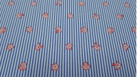 Cotton Blue Striped Beach fabric - Cotton fabric with beach-themed drawings on thin blue stripes. The fabric is 150cm wide and its composition is 100% cotton.