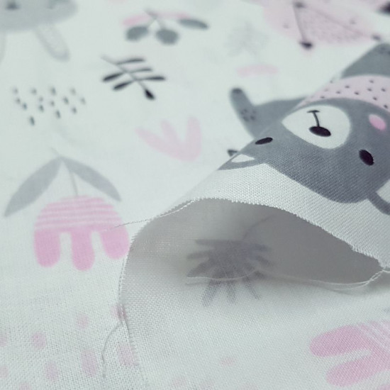 Cotton Forest Animals Pink fabric - Children's cotton fabric with drawings of forest animals such as bears, rabbits, foxes, birds... very funny on a white background with drawings of plants, bees where gray and pink colors predominate. The fabric is 16