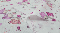 Cotton Ballerina Hearts Pink fabric - Cotton fabric with children's drawings of ballerinas and hearts in pink tones on a white background. The fabric is 150cm wide and its composition is 100% cotton.