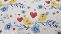 Cotton Birds Hearts Beige fabric - Digital printing cotton fabric with drawings of yellow birds on branches of plants on a beige background with drawings of hearts and flowers. The fabric is 150cm wide and its composition is 100% cotton.
