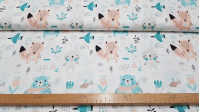 Cotton Forest Animals Mint fabric - Children's cotton fabric with decorative drawings of forest animals such as bears, rabbits, foxes, bees ... where mint green colors predominate. The fabric is 160cm wide and its composition is 100% cotton.