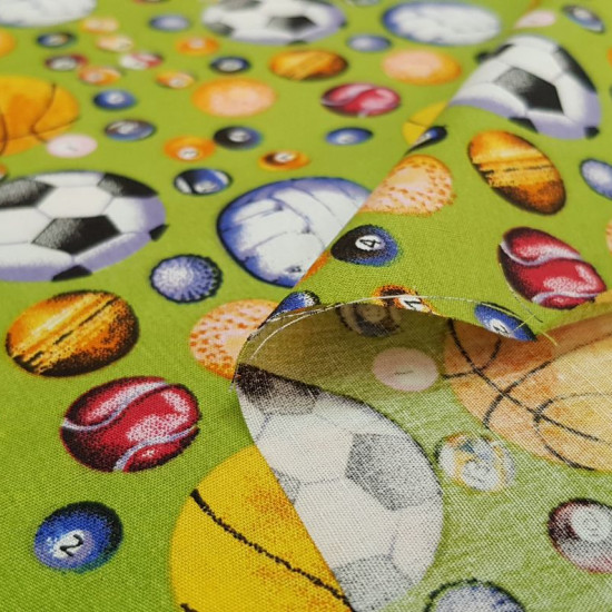 Cotton Balls Sport fabric - Cotton fabric with drawings of balls of various kinds of sports, soccer balls, basketball, volleyball, tennis, billiards ... on a white background. The fabric is 150cm wide and its composition is 100% cotton.