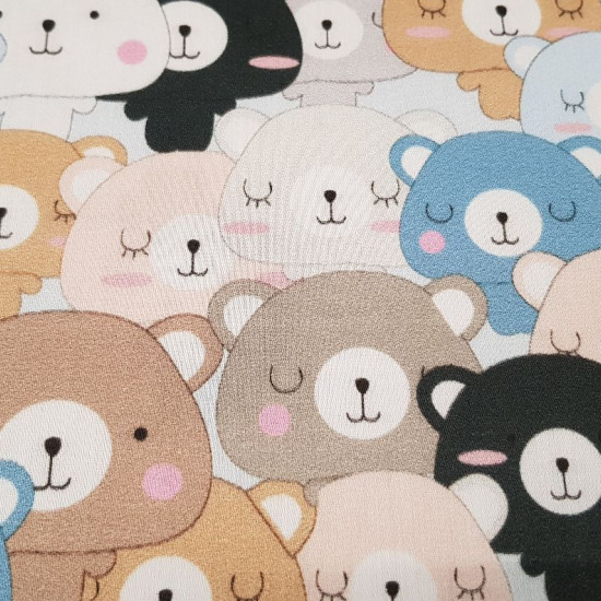 Cotton Bears Together fabric - Satin cotton fabric with drawings of very close teddy bears forming a beautiful mosaic-like pattern. The fabric is 140cm wide and its composition is 100% cotton.