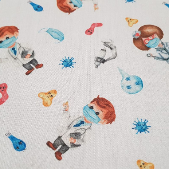 Cotton Medicine Virus fabric - Satin cotton fabric with drawings of doctors on a white background with drawings of viruses, masks and microscopes. The fabric is 140cm wide and its composition is 100% cotton.