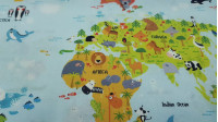 Cotton World Map Animals fabric - Digital print children's cotton fabric with world map drawings with funny animals spread across the map. The fabric is 140cm wide and its composition is 100% cotton.