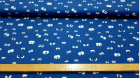 Cotton Eyes Looking Blue fabric - Cotton fabric with drawings of peeping eyes on a blue background. The fabric is 150cm wide and its composition is 100% cotton.