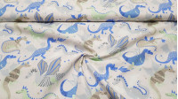 Cotton Funny Dragons fabric - Cotton fabric with drawings of funny dragons in shades of blue, green and gray on a light background with stars. The fabric is 140cm wide and its composition is 100% cotton.