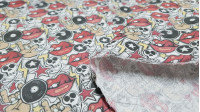 Cotton Skulls Lips Vinyls fabric - Cotton fabric digital printing with drawings of skulls, lips, vinyl records, rays and stars. The fabric measures 140cm and its composition is 100% cotton.