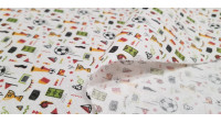 Cotton Football Day fabric - Cotton fabric digital printing with soccer-themed drawings, where there are balls, markers, flags, whistles, vuvuzelas... The fabric is 140cm wide and its composition 100% cotton