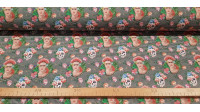Cotton Frida Houndstooth fabric - Cotton fabric in digital printing with drawings of Frida and flowery skulls on a houndstooth pattern background. The fabric is 140cm wide and its composition is 100% cotton.