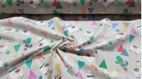 Cotton Llamas and Cactus fabric - Cotton fabric with drawings of llamas and cacti of different colors on a light gray background. A very cool fabric for decoration on cushions for example, children's clothing and much more...