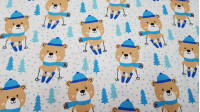 Cotton Bears Skiing fabric - Cotton fabric with drawings of bears with scarf caps in blue tones, skiing on a trail of snowflakes and blue-eyed birds.