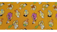 Cotton Flintstones Circles fabric - Cotton fabric with drawings of the Flintstones characters, where Pablo, Pedro, Vilma, Betty, Pebbles, Bam-Bam and Dino appear on an orange background. The fabric is 110cm wide and its composition is 100% cotton.