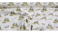 Cotton Harry Potter Hogwarts fabric - Cotton fabric with Harry Potter themed drawings where glasses, wands, texts and the Hogwarts school appear on a white background. The fabric is 110cm wide and its composition is 100% cotton.