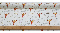 Cotton Harry Potter Phoenix fabric - Cotton fabric with Harry Potter-themed drawings where phoenixes, wands, texts, books and stars appear on a white background. The fabric is 110cm wide and its composition is 100% cotton.