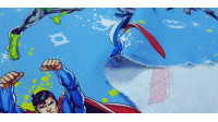 Cotton Justice League Decorative fabric - Cotton fabric license ideal for decorative use with the characters of Batman, Superman, Flash and Green Lantern on a blue background. The fabric is 140cm wide and its composition is 100% cotton.
