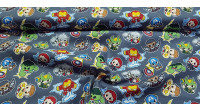 Cotton Marvel Superheroes Kawaii fabric - Licensed cotton fabric with drawings of Marvel superheroes in Kawaii style on a gray background. The fabric is 110cm wide and its composition is 100% cotton.