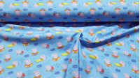 Cotton Peppa Pig Swimming fabric - Licensed cotton fabric with drawings of Peppa Pig and George characters swimming with floats in the pool. The fabric is 150cm wide and its composition is 100% cotton.