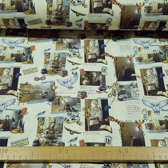 Cotton Harry Potter Scenes fabric - Licensed cotton fabric with drawings of scenes from the Harry Potter saga and also objects such as books, owls, trains... on a light background. The fabric is 150cm wide and its composition is 100% cotton.