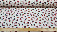 Cotton Marvel Spiderman Poses Arachnids fabric - Licensed cotton fabric with drawings of the Spiderman character in various arachnid poses on a white background. The fabric is 150cm wide and its composition is 100% cotton.