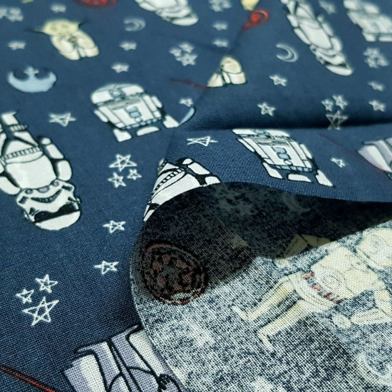 Cotton Star Wars Cartoon Comic Gray fabric - Licensed cotton fabric with comic-style cartoon drawings of Star Wars characters such as Yoda, Darth Vader, R2D2 ... on a dark gray background. The fabric is 110cm wide and its composition is 100% cotton.