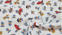 Cotton Pocoyo Playing fabric - Licensed cotton fabric with drawings of the Pocoyo character playing and disguised on a white background. The fabric is 150cm wide and its composition is 100% cotton.
