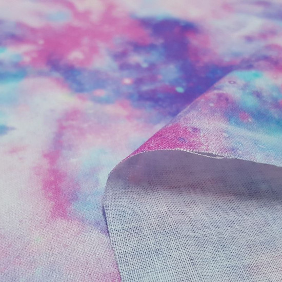 Cotton Digital Marbled Galaxy fabric - Digitally printed cotton fabric with marbled drawing of galaxies and stars in lilac, pink and blue tones. The fabric is 150cm wide and its composition is 100% cotton.
