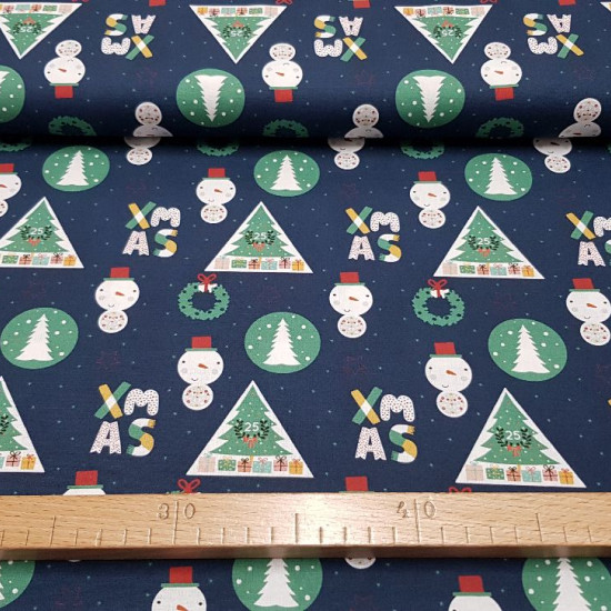 Cotton Christmas Xmas Circles Triangles fabric - Christmas-themed cotton fabric, with drawings of Christmas trees with gifts inside white triangles, snowmen, ornaments and words