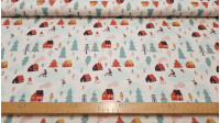 Cotton Christmas Snow Games fabric - Nice Christmas fabric with drawings of little houses, Christmas trees and people skiing and playing with sleds on the snow.