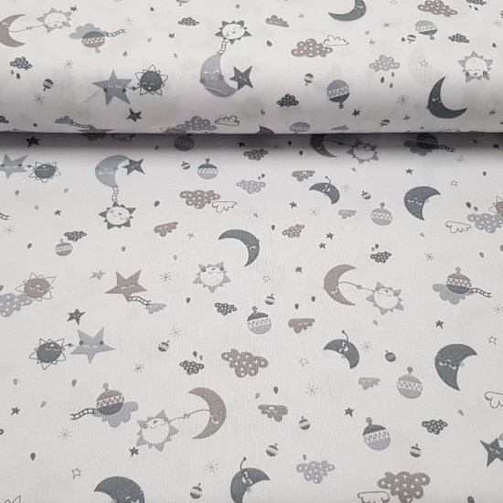 Pique Moons Clouds Balloons Grey fabric - Piqué fabric with drawings of moons, clouds, balloons and suns in shades of grey on a white background.