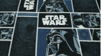 Poly Fleece Star Wars Darth Vader fabric - Disney licensed poly fleece fabric with drawings of Darth Vader and Star Wars saga logos on a background of blue and black colors. Ideal for blanket or large projects. The fabric measures 145cm wide and its 100%