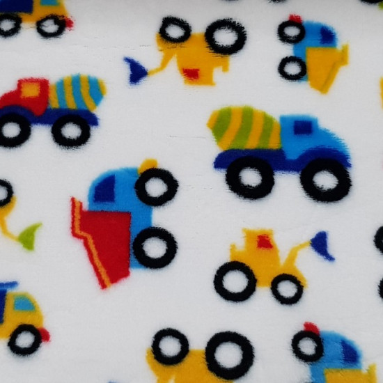 Coral Fleece Construction Trucks fabric - Children's coral fleece fabric with drawings of colorful trailer trucks, tractors and concrete mixers on a white background. Coral fabric is very soft to the touch and is widely used in children's clothing. T