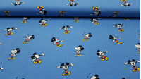 Cotton Jersey Disney Mickey Blue fabric - Children's themed cotton knit fabric, in which Disney's Mickey Mouse character appears doing various funny poses on a blue background. The fabric is 150cm wide and its composition 95% cotton - 5% elastane