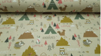 Cotton Jersey Animals Tipi Beige fabric - Cotton jersey fabric with Nordic-style drawings featuring animals such as rabbits and foxes, snowy mountains, tipi tents and small ornaments such as stars and Indian arrows ... all on a light beige background. The