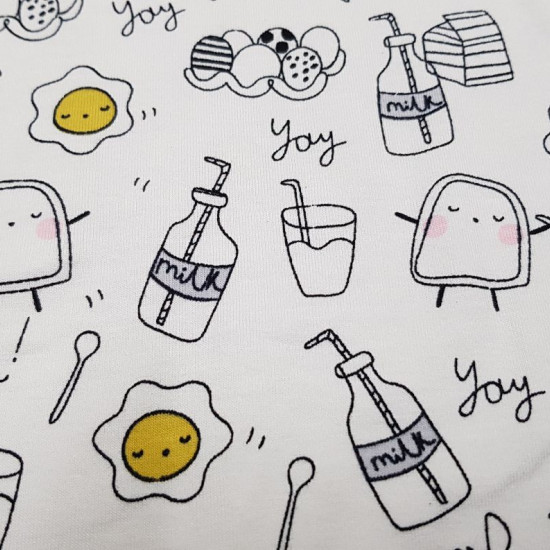 Cotton Jersey Funny Breakfast White fabric - Cotton Jersey fabric with funny drawings of fried and toasted eggs with faces, bottles of milk, cutlery, eggs... on a white background. The fabric measures 150cm wide and its composition 95% cotton - 5% elastan