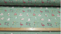 Cotton Jersey Jolly Holidays Green Melange fabric - Very funny cotton jersey fabric with cheerful drawings of puppies, kittens, flamingos, toucans, ice cream, cameras and unicorns on a melange green background. The fabric measures 150cm wide and its compo