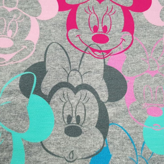 Jersey Sweat Minnie Faces fabric - Disney licensed jersey sweat fabric with drawings of Minnie's faces in various colors on a melange gray background. The fabric is 160cm wide and its composition 95% cotton - 5% elastane