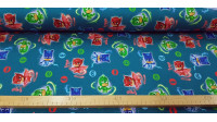 Jersey Sweat PJ Mask fabric - Jersey Sweat fabric with drawings of the PJ Masks characters on a petrol blue background. The fabric is 160cm wide and its composition 95% cotton - 5% elastane