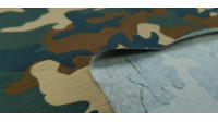 Cotton Jersey Camouflage fabric - Cotton jersey fabric with camouflage weft drawings in brown and green tones. The fabric is 150cm wide and its composition is 95% cotton - 5% elastane.