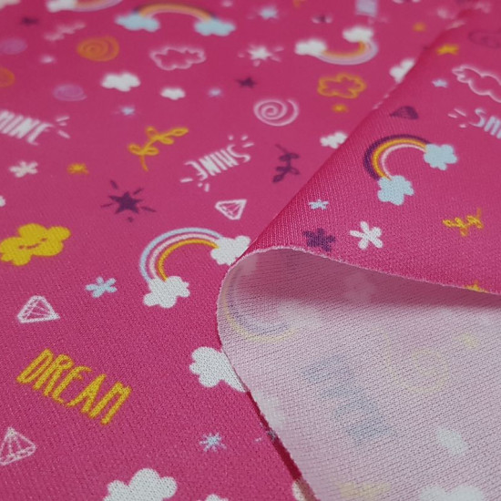 Pul Rainbow Clouds fabric - Pul fabric waterproof and breathable at the same time with very colorful drawings of clouds with rainbows, stars, diamonds... phrases like
