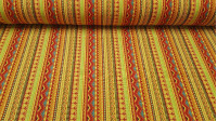 Burlington Ethnic Print fabric - Burlington/Stretch fabric ideal for costume and decorations with ethnic drawings, stripes, triangles and other shapes in bright colors. The fabric is 150cm wide and its composition 100% polyester