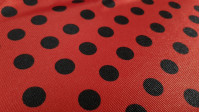 Carnival Satin Ladybug Polka Dot fabric - Carnival satin or trilobal fabric with black polka dot patterns on a red background, imitating the ladybug insect. Ideal for Ladybug's character costume, for example. The fabric is 150cm wide and its composition 1