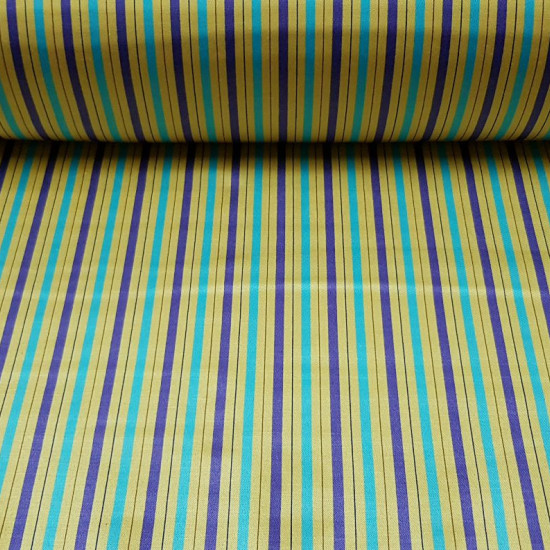 OUTLET Elastic Satin Stripes fabric - Bright satin fabric with elasticity in which there are lilac, blue and brown stripes on a gold / ocher background. The fabric is 110cm wide and its 100% polyester composition. Fabric Outlet Cheap Clearance