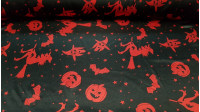 Satin Halloween Red Witches fabric - Satin fabric, bright on one side and with a lot of fall. Print with drawings of pumpkins, witches and red bats on black background. Ideal for Halloween parties.