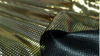 Foil Jersey Gold Circles fabric - Black jersey fabric with tiny foil circles in gold color. Fabric with a lot of shine and fall ideal for bright costumes. The fabric is 150cm wide and its 100% polyester composition.